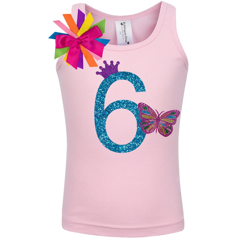 6th Birthday Rainbow Butterfly Shirt - Shirt - Bubblegum Divas Store