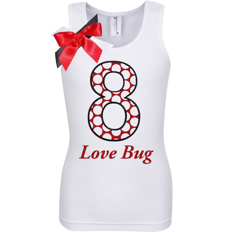 8th Birthday Girl Shirt Ladybug Outfit Red Polka Dot 8 Love Bug Party Personalized Name