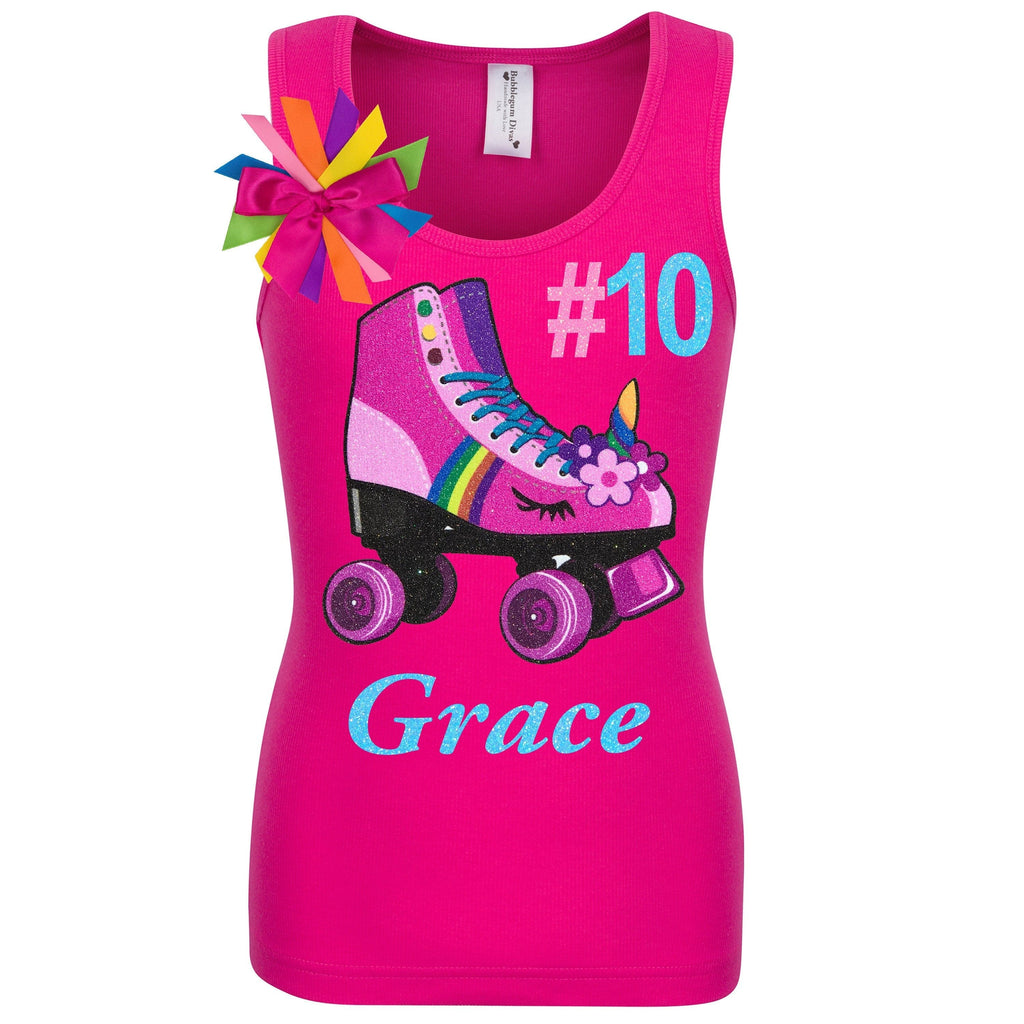 Unicorn Birthday Roller Skate Outfit 10th Birthday Girl Shirt Hot Pink Double Digits Neon Glow Party Skating Hashtag Shirt Personalized # 10