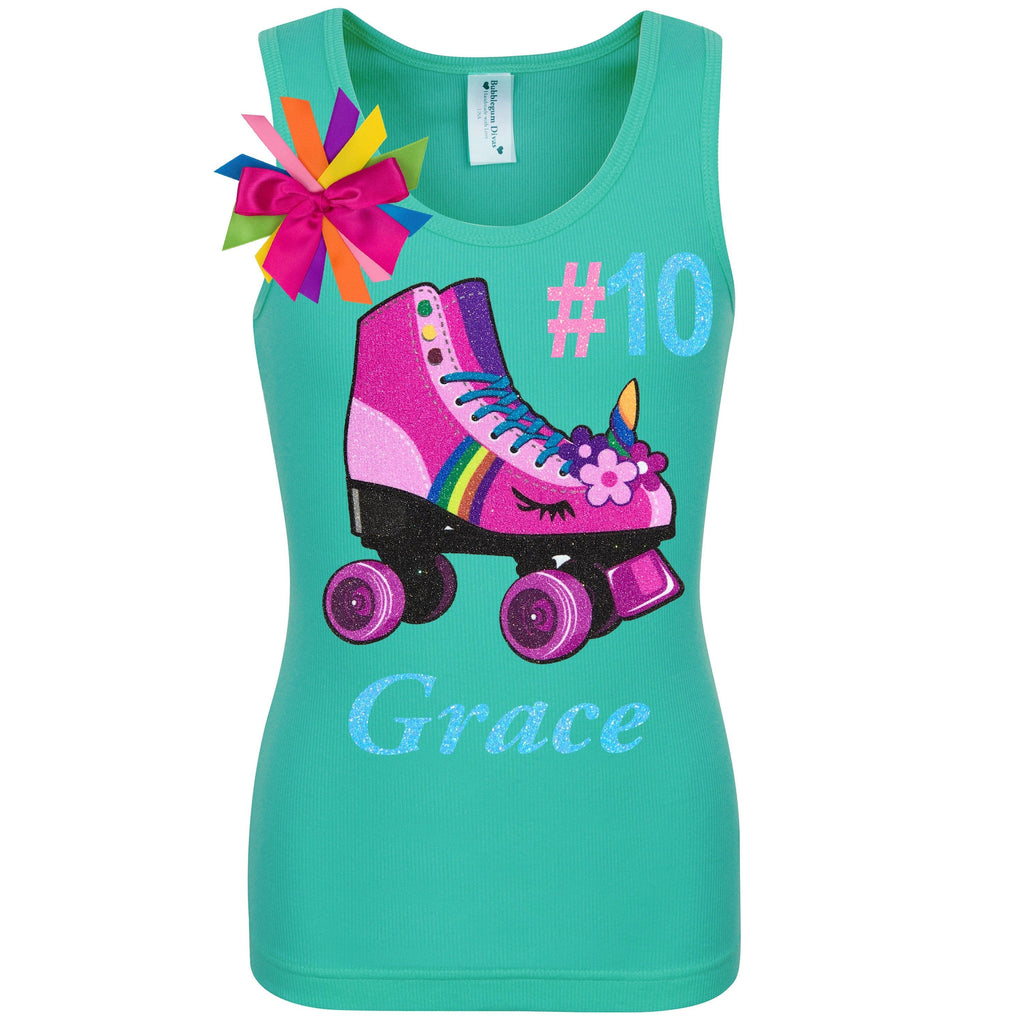 Unicorn Birthday Roller Skate Outfit 10th Birthday Girl Shirt Teal Double Digits Neon Glow Party Skating Hashtag Shirt Personalized # 10