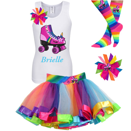 White tank top shirt with pink unicorn roller skate, Rainbow tutu skirt with stars and roller skate, rainbow knee socks with roller skates, and birthday roller skate hair bow