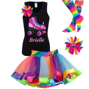 black tank top shirt with personalized name and pink unicorn roller skate, Rainbow tutu skirt with stars and roller skate, rainbow knee socks with roller skates, and birthday roller skate hair bow