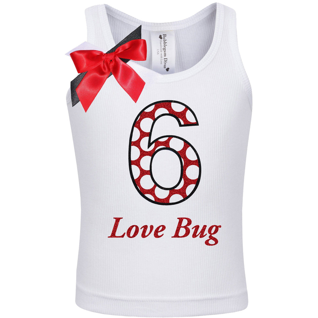 6th birthday Girl Shirt Kids Lady Bug Party Outfit Red Polka Dot 6 Love Bug Gift Set Personalized Name