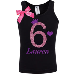 6th Birthday Girl Shirt Lavender 6 - 6th Birthday Shirts - Bubblegum Divas Store