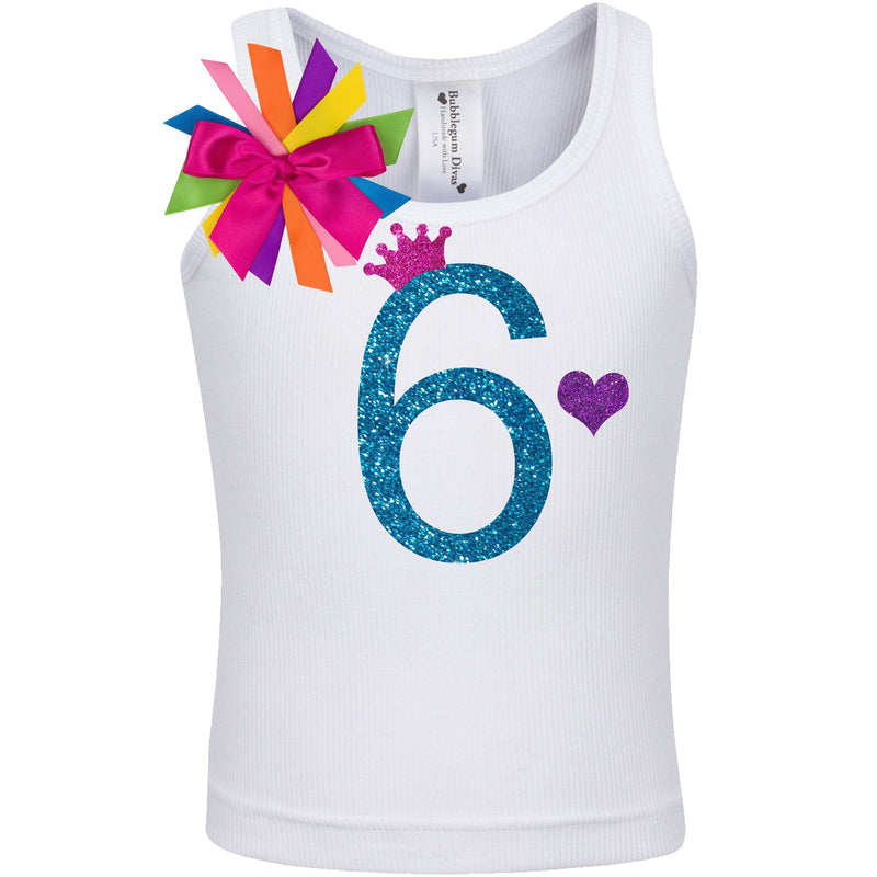 6th Birthday Girl Shirt Blue Glitter - 6th Birthday Shirts - Bubblegum Divas Store