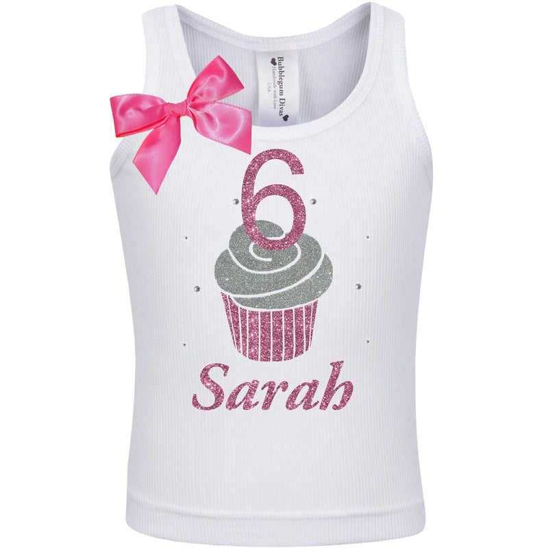 6th Birthday Girl Shirt Pink Cupcake Party Outfit Little Cupcake Birthday Shirt Sweet Shop Ice Cream Hair Bow Personalized Name 6