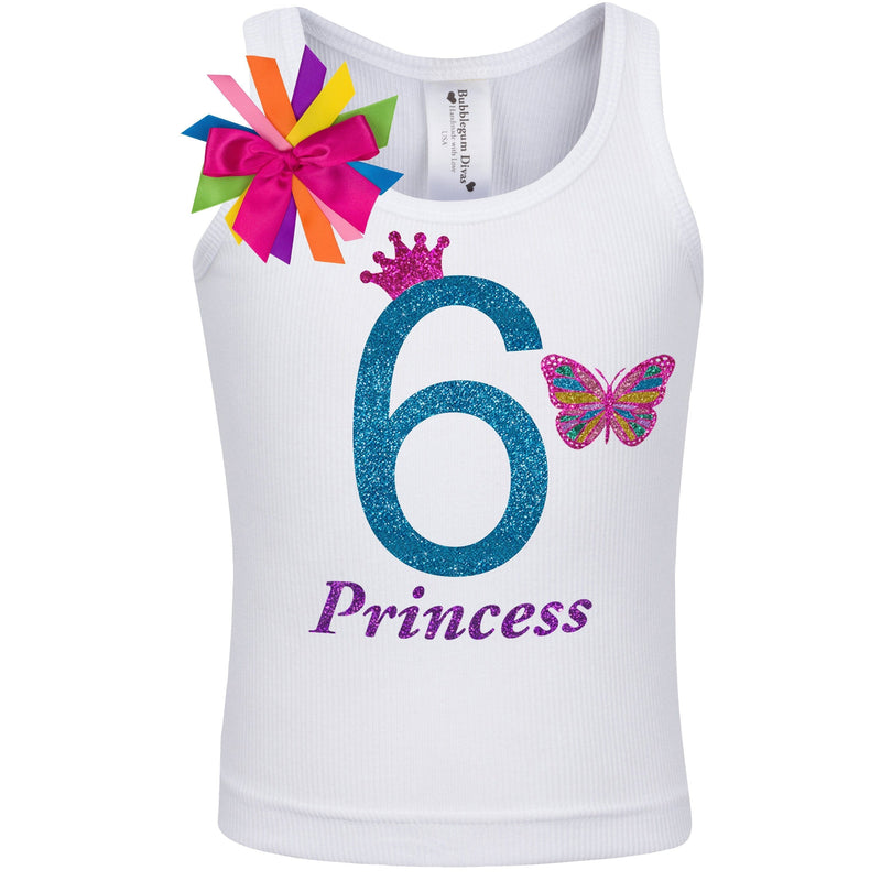 6th Birthday Girl Butterfly Shirt - Shirt - Bubblegum Divas Store