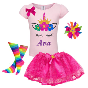 Unicorn Birthday Girl Outfit Rainbow Flowers - Outfit - Bubblegum Divas Store