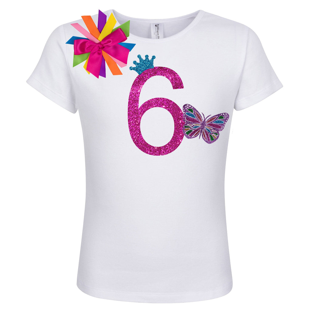 Butterfly Shirt 6th Birthday Outfit - 6th Birthday - Bubblegum Divas Store