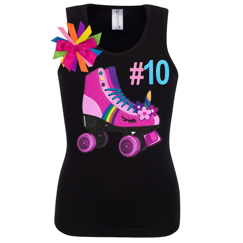 Unicorn Birthday Roller Skate Outfit 10th Birthday Girl Shirt Black Double Digits Neon Glow Party Skating Hashtag Shirt Personalized # 10