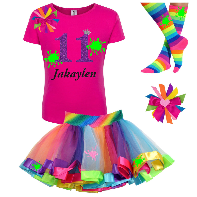 Slime Party 11th Birthday Outfit Tween Birthday Girl Shirt Glow Birthday Party Rainbow Tutu Skirt Socks Personalized Name Double Digits 11