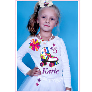 Roller Skate Outfit Birthday Girl Shirt Lucky Star Rainbow Tutu Skirt Long Sleeve Shirt Kids Personalized Gift