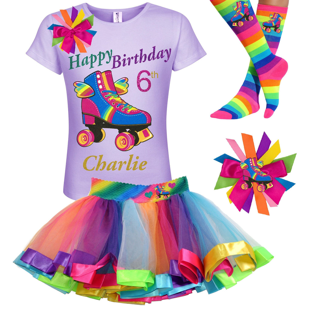 Roller Skate 6th Birthday Outfit Rainbow Tutu Happy Wings Roller Skate Personalized 6