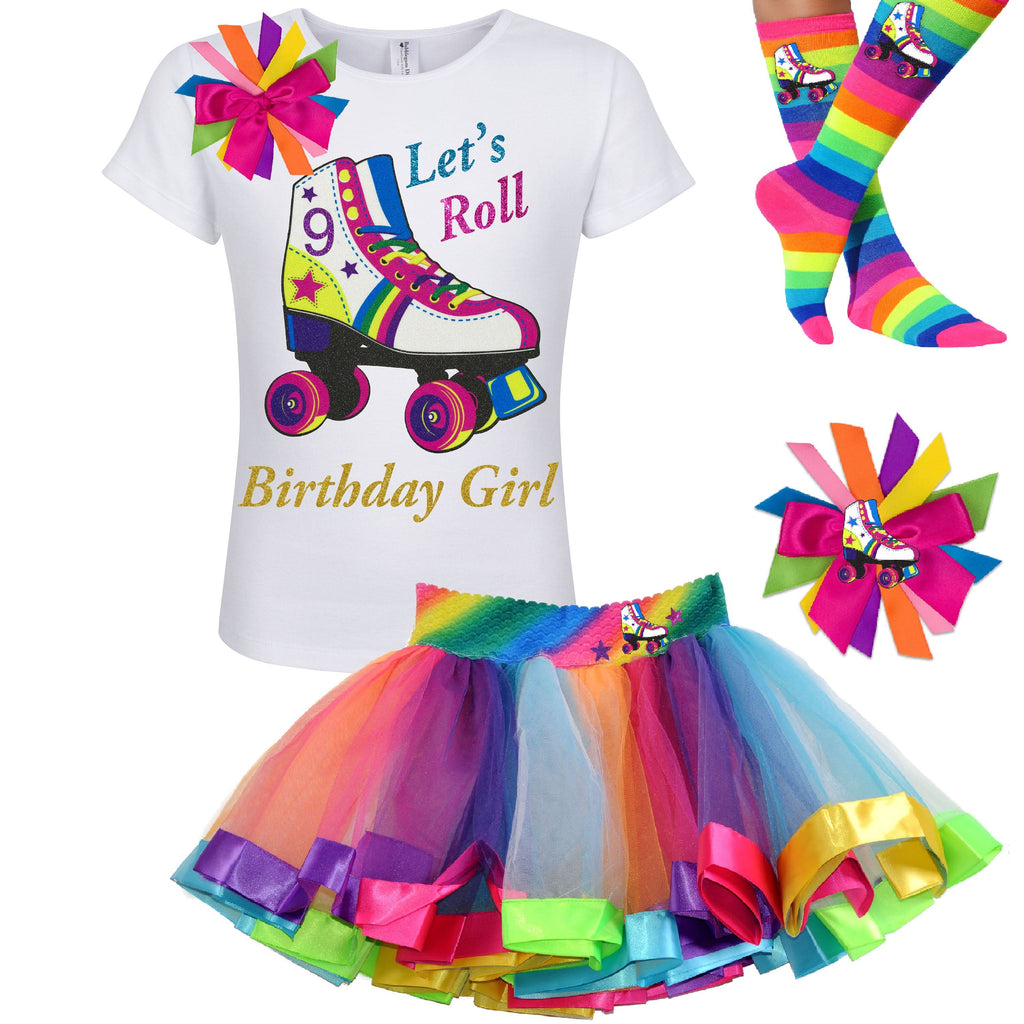 Girls Roller Skate Party Outfit 9th Birthday Shirt Rainbow Tutu Skirt Glitter Roller Derby Socks Glow Skating Personalized Gift 9