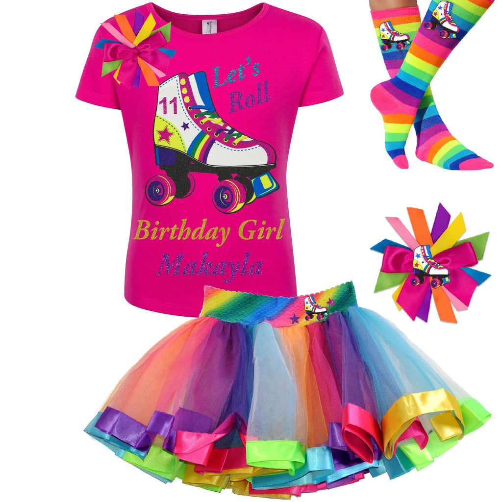 Tween Girls Roller Skate Party Outfit 11th Birthday Shirt Rainbow Tutu Skirt Glitter Roller Derby Socks Glow Skating Personalized Gift 12