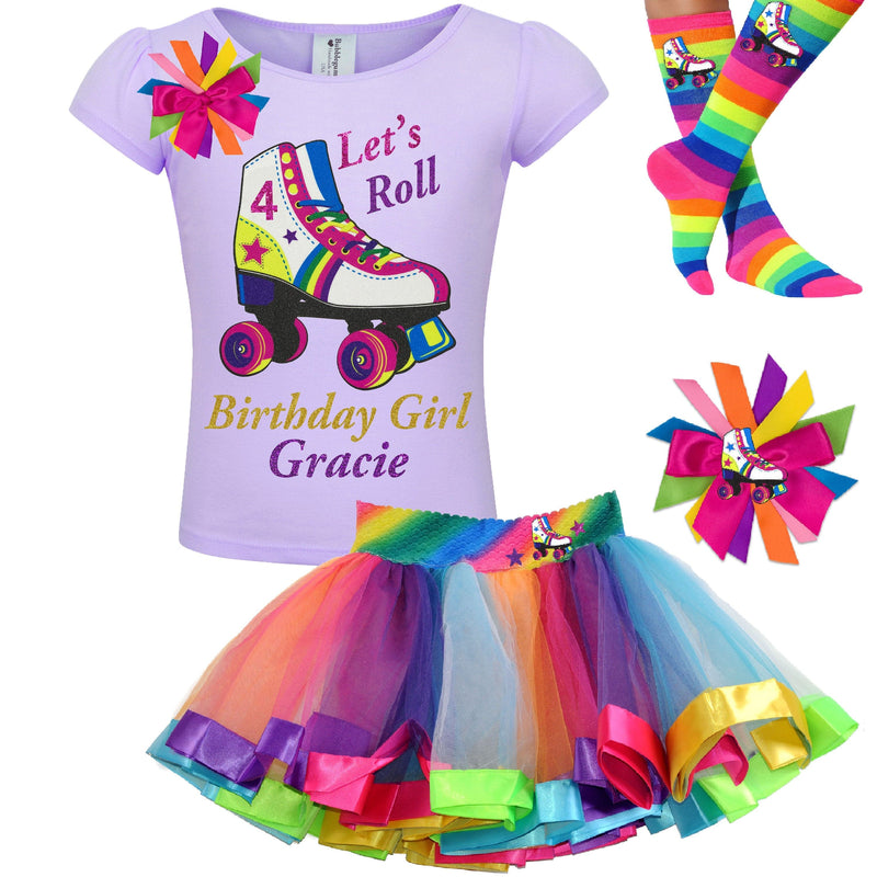 Girls Roller Skate Party Outfit 4th Birthday Shirt Rainbow Tutu Skirt Glitter Roller Derby Socks Glow Skating Personalized Gift 4