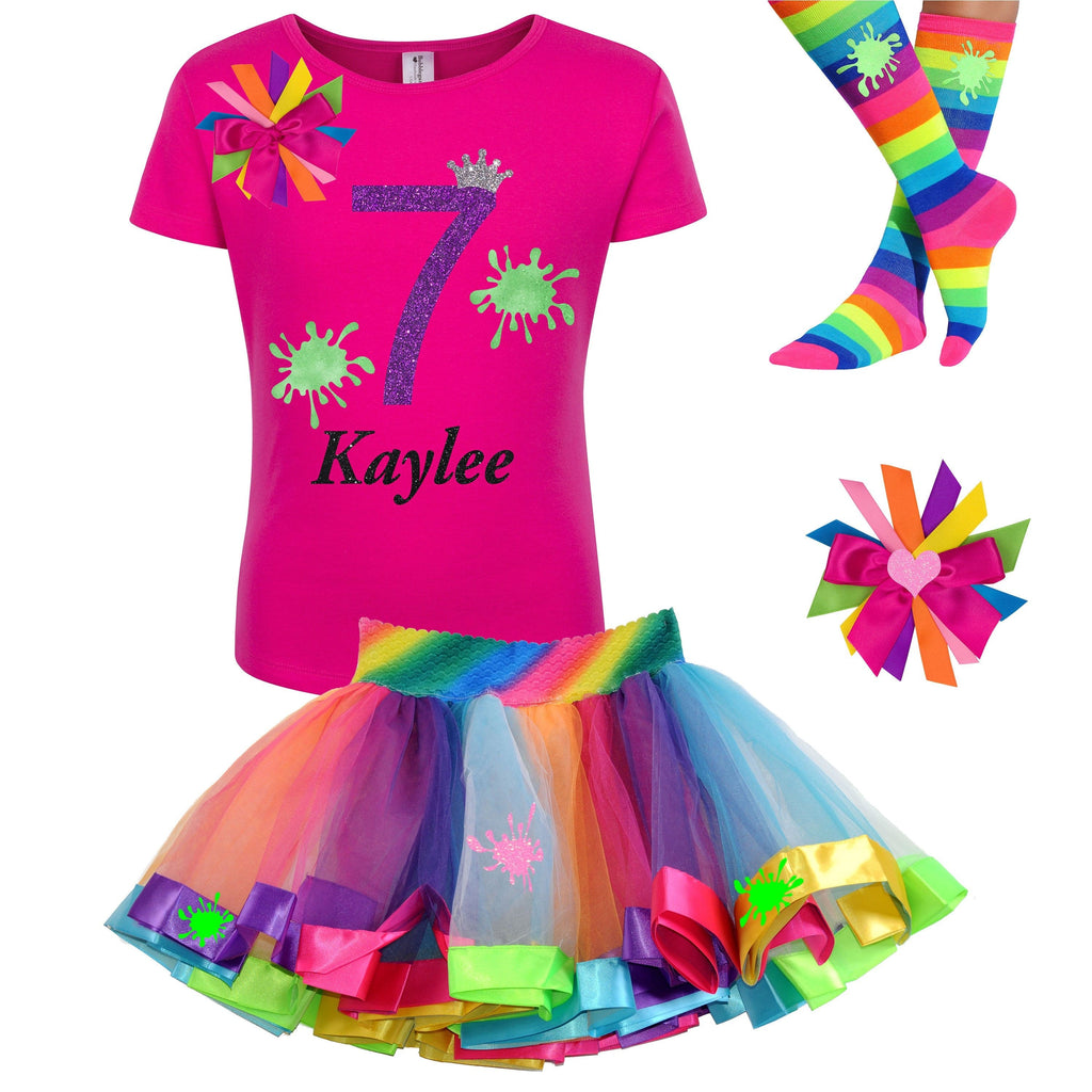 Slime 7th Birthday Girl Outfit Glow Party Costume Rainbow Tutu Skirt Socks Hair Bow Personalized Name 7