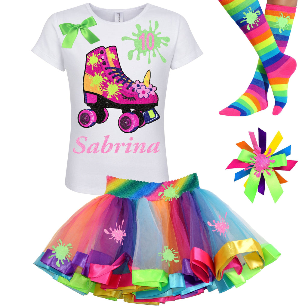 Slime Shirt Unicorn Roller Skate 10th Birthday Girl Outfit Double Digits Glow Skating Party Roller Derby Rainbow Tutu Skirt 10