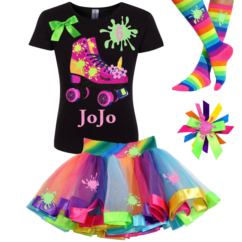 Slime Shirt Unicorn Roller Derby Skate 6th Birthday Girl Outfit Glitter Rainbow Fluffy Slime Tutu Skirt Glow Skating Party Gift Personalized