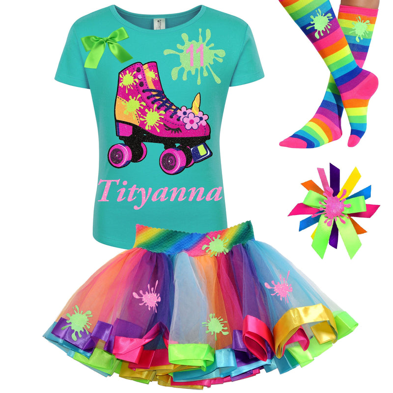 Slime Glow Party 11th Birthday Outfit Tween Girls Unicorn Roller Skate Shirt Personalized