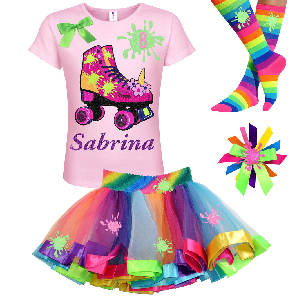Slime Shirt Unicorn Roller Skate 8th Birthday Girl Outfit Girls Glow Skating Party Roller Derby Rainbow Tutu Skirt Personalized Name