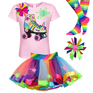 Rainbow Slime Shirt Unicorn Birthday Roller Skate Outfit Girls Glow Skating Party Roller Derby Rainbow Tutu Skirt Personalized Name 9th 9