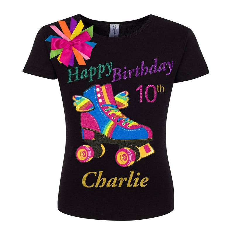 Roller Skate 10th Birthday Outfit Rainbow Tutu Roller Skater Skirt Rainbow Happy Birthday Girl Shirt Double Digits 10 Personalized