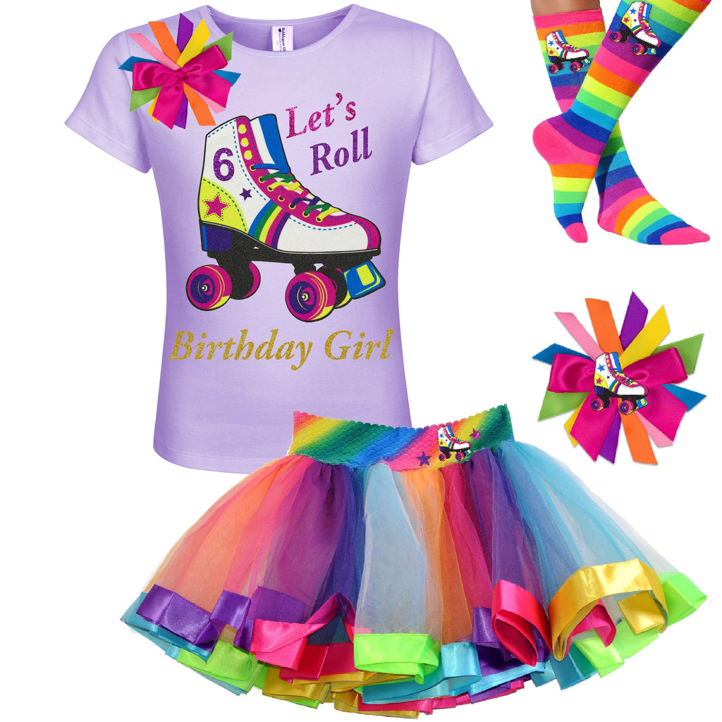Girls Roller Skate Party Outfit 6th Birthday Shirt Rainbow Tutu Skirt Glitter Roller Derby Socks Glow Skating Personalized Gift 6