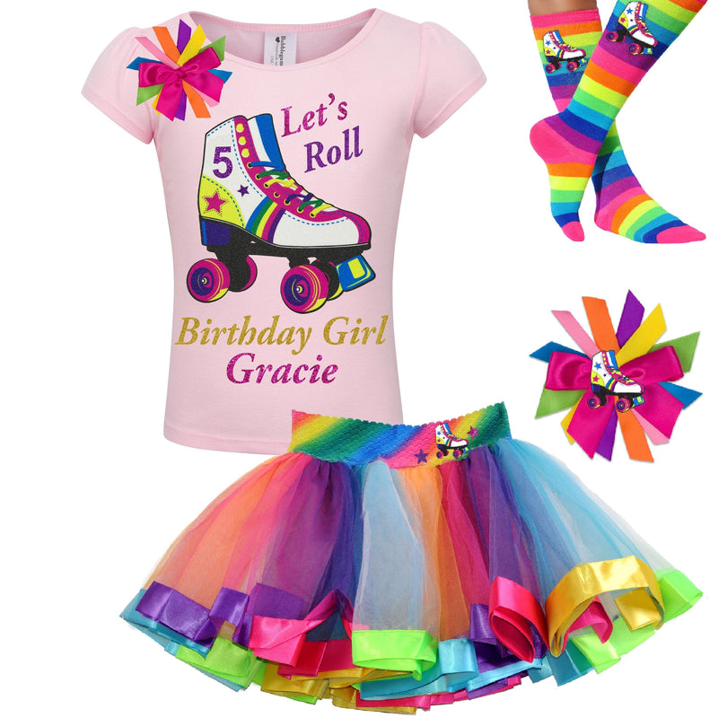 Girls Roller Skate Party Outfit 5th Birthday Shirt Rainbow Tutu Skirt Glitter Roller Derby Socks Glow Skating Personalized Gift 5