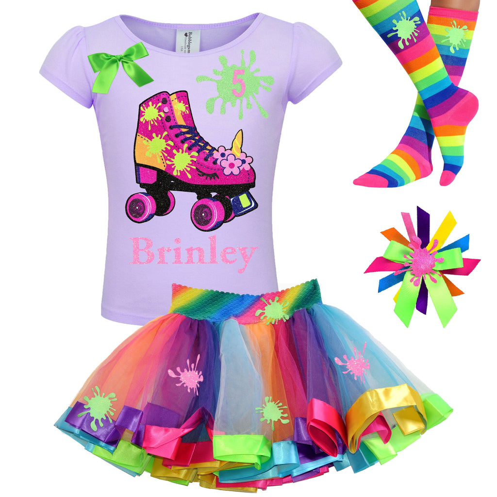 Unicorn Birthday Roller Skate Slime Shirt 5th Birthday Girl Outfit Glitter Rainbow Fluffy Slime Tutu Glow Roller Derby Skirt Skating Party 5