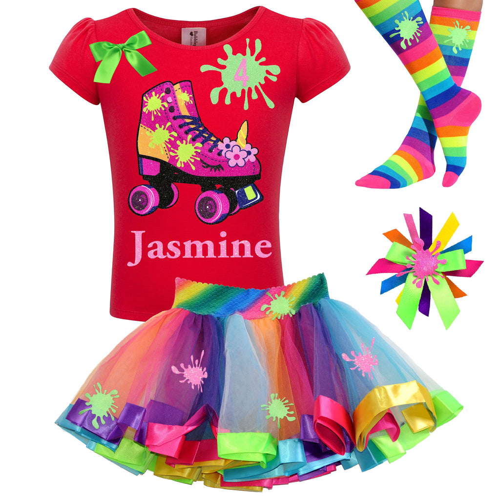Unicorn Birthday Roller Skate Slime Shirt 4th Birthday Girl Outfit Glitter Rainbow Fluffy Slime Tutu Glow Roller Derby Skirt Skating Party 4