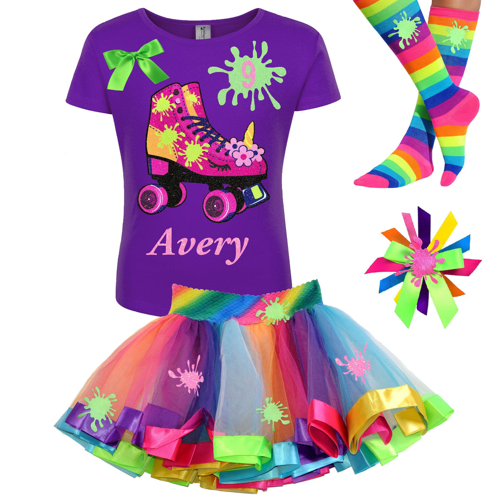 Slime Shirt Unicorn Birthday Roller Skate 9th Birthday Girl Outfit Glow Skating Party Roller Derby Rainbow Tutu Skirt 9 Personalized