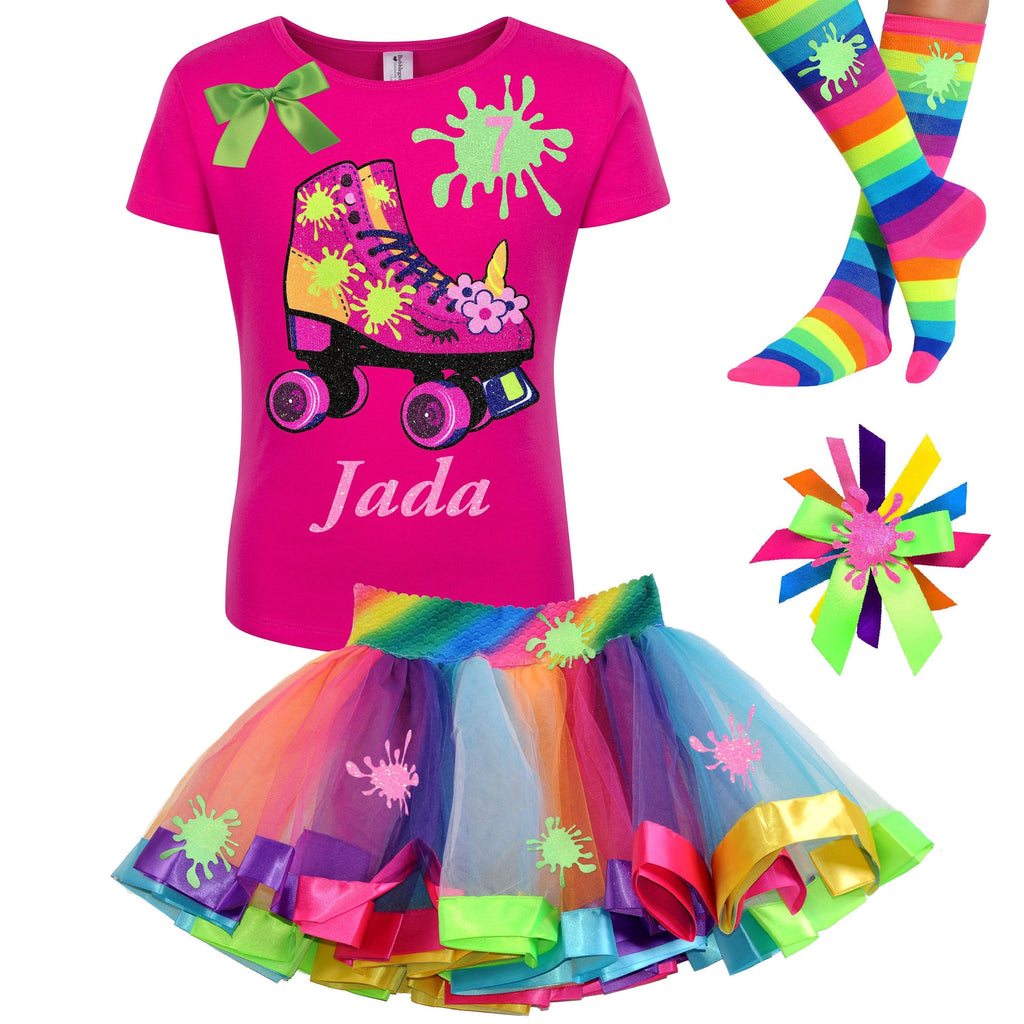 Slime Shirt Unicorn Roller Skate 7th Birthday Girl Outfit Glow Skating Party Roller Derby Rainbow Tutu Skirt Personalized Name 7