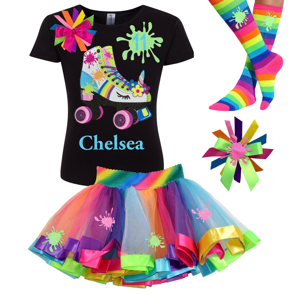 Unicorn Birthday Slime Roller Derby Skate 9th Birthday Girl Outfit Glitter Rainbow Tutu Skirt Glow Skating Party Gift Personalized Name 9