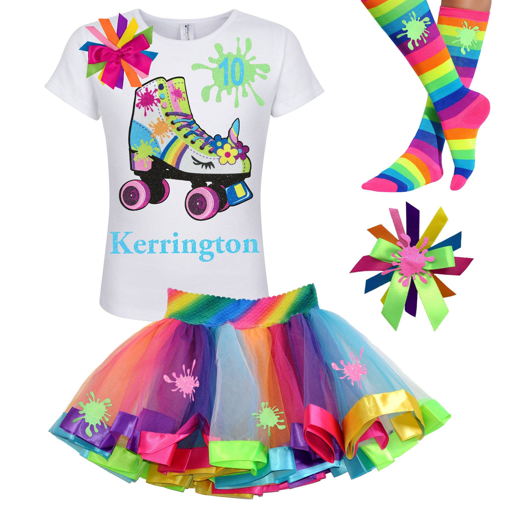 Rainbow Slime Unicorn Birthday Girl Roller Skate Outfit Double Digits 10 Glow Skating Party Roller Derby Rainbow Tutu Personalized 10th