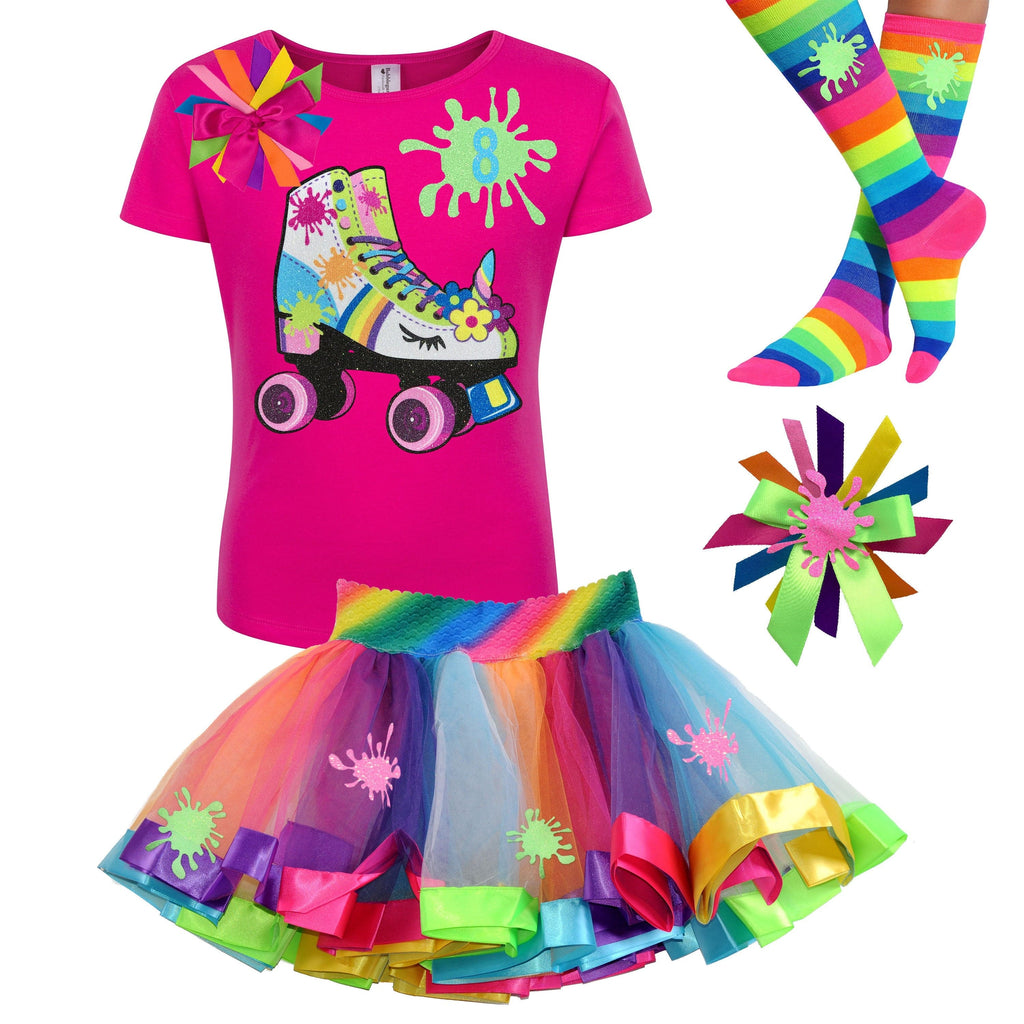 Rainbow Slime Shirt Unicorn Birthday Roller Skate Outfit Glow Skating Party Roller Derby Rainbow Tutu Skirt Personalized Name 8th Birthday 8