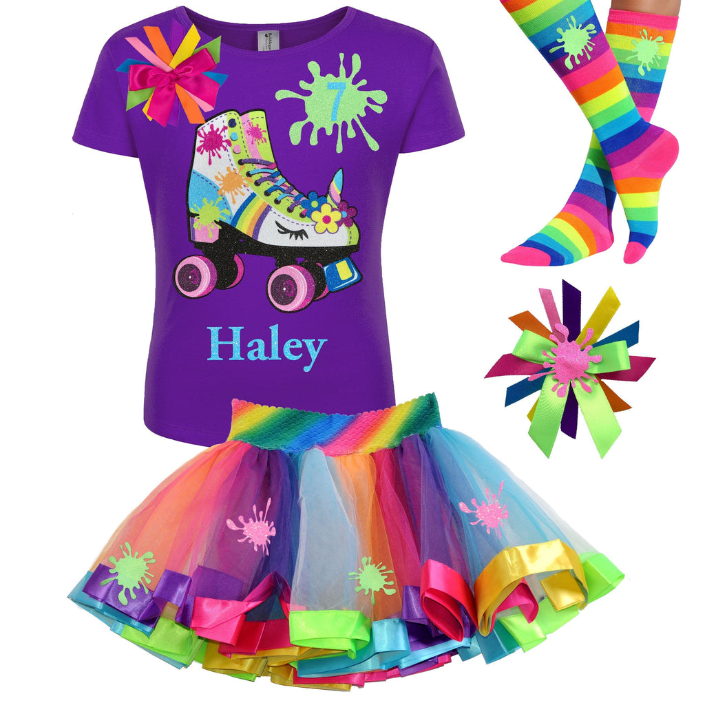 Rainbow Slime Shirt Unicorn Birthday Roller Skate 7th Birthday Girl Outfit Glow Skating Party Roller Derby Rainbow Tutu Skirt Personalized 7