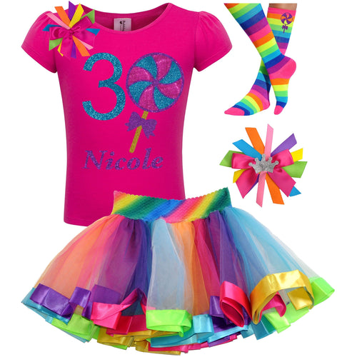 3rd Birthday Lollipop Shirt Girls Rainbow Tutu Party Outfit 4PC Set