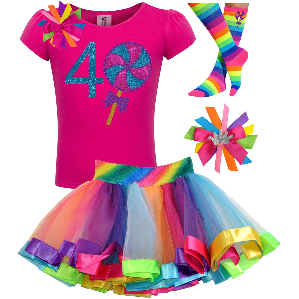 Lollipop Blueberry Swirl 4th Birthday - Lollipop Birthday Outfits Baby Toddler Girls - Bubblegum Divas Store