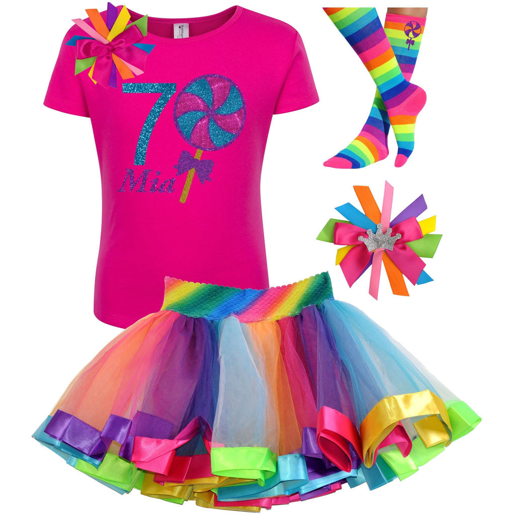 Lollipop Blueberry Swirl 7th Birthday - Lollipop Birthday Outfit Kids Teens Girls - Bubblegum Divas Store