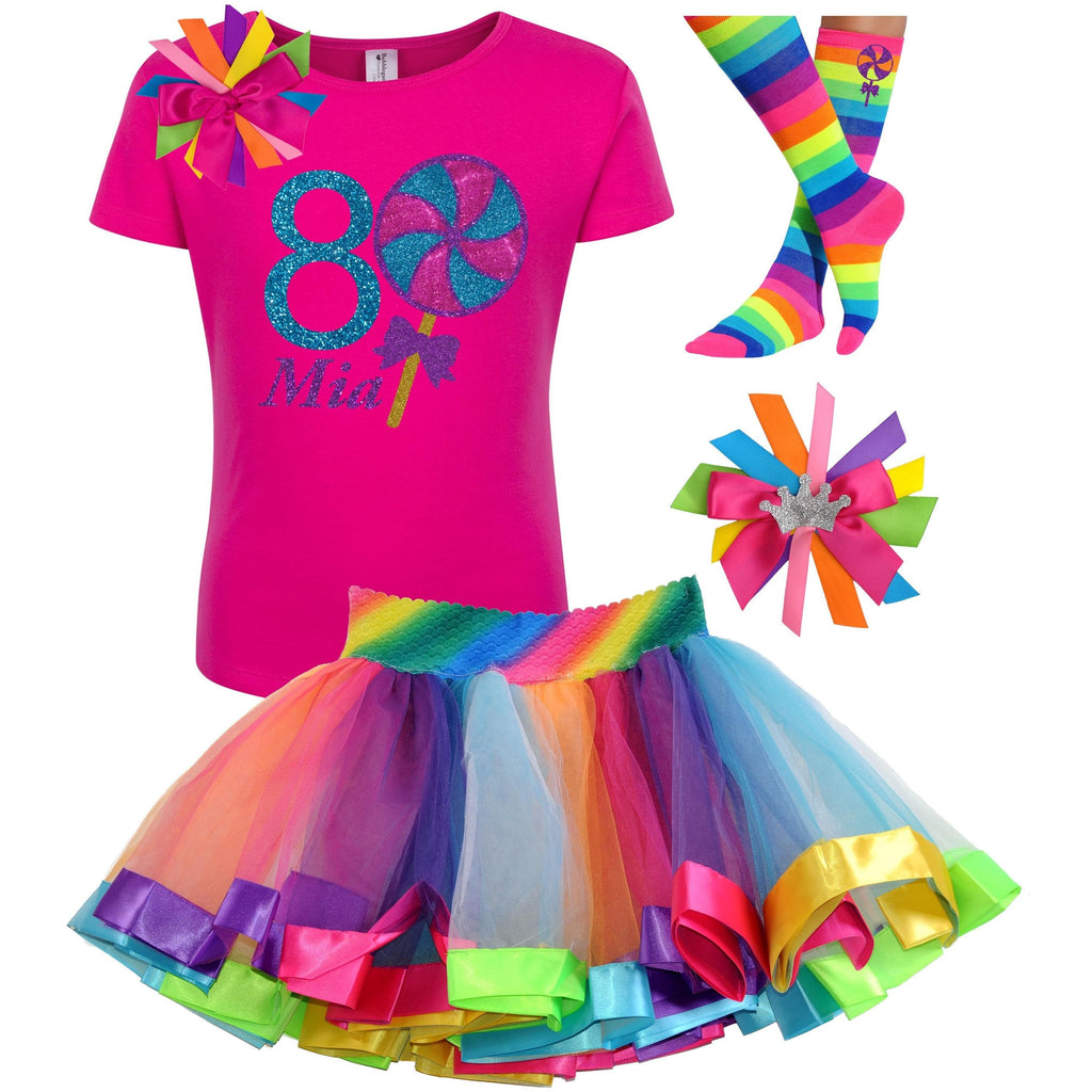 Lollipop Blueberry Swirl 8th Birthday - Lollipop Birthday Outfit Kids Teens Girls - Bubblegum Divas Store