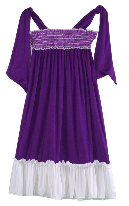 Girls Purple Polka Dot Casual Dress