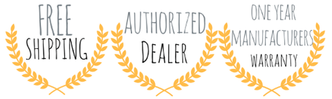 Warranty free shipping and authorized dealer badge