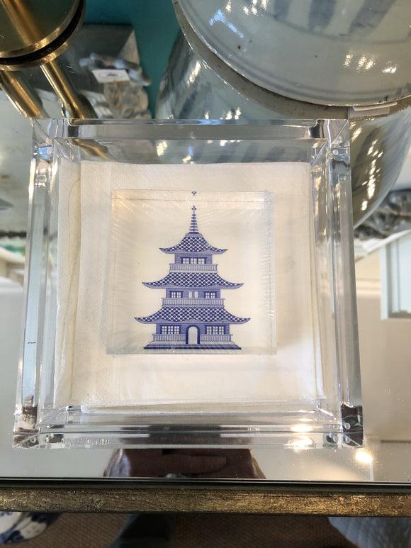 Acrylic Cocktail Napkin Holder with Pagoda