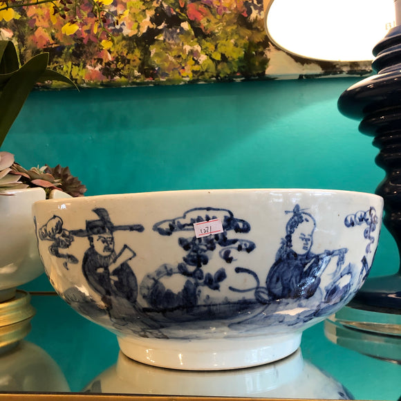 Blue and white bowl with wise men