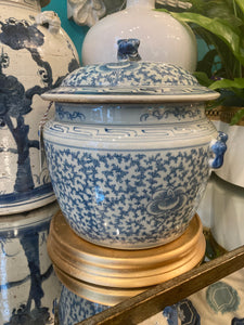 Floral lidded jar- blue and white reproduction