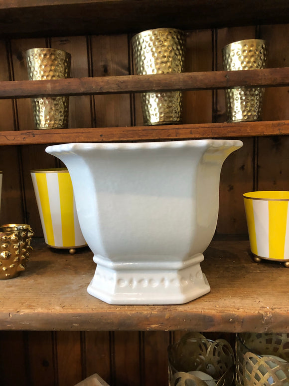 Octagon white / cream planter - Small