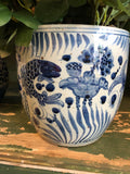 Planter - Blue and White Fish - Medium