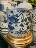 "8"" straight wall containers - Brush Pot - Blue and White Reproduction"