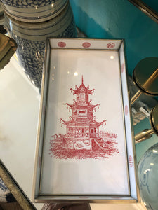 Pagoda Tray - Glass - White and Red